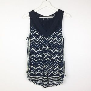 Lucky Brand Navy & White Top With Crochet Detail